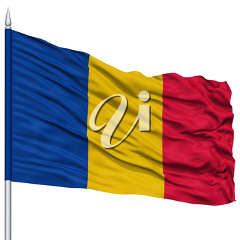 Chad Flag on Flagpole , Flying in the Wind, Isolated on White Background