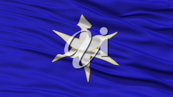 Closeup Chiba Japan Prefecture Flag, Waving in the Wind, High Resolution