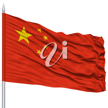 China Flag on Flagpole , Flying in the Wind, Isolated on White Background