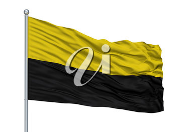 Barrancabermeja City Flag On Flagpole, Country Colombia, Santander, Isolated On White Background, 3D Rendering