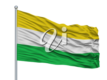 Coper City Flag On Flagpole, Country Colombia, Boyaca Department, Isolated On White Background, 3D Rendering