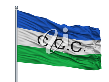 Curillo City Flag On Flagpole, Country Colombia, Caqueta Department, Isolated On White Background, 3D Rendering