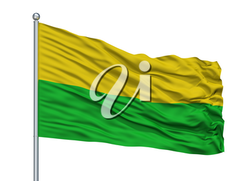 El Bagre City Flag On Flagpole, Country Colombia, Antioquia Department, Isolated On White Background, 3D Rendering