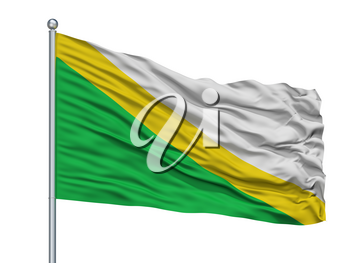 Medina City Flag On Flagpole, Country Colombia, Cundinamarca Department, Isolated On White Background, 3D Rendering