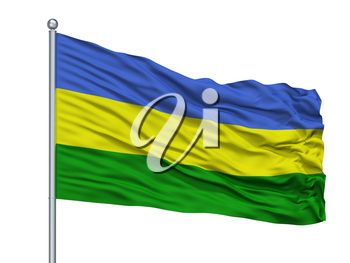 San Juan Del Cesar City Flag On Flagpole, Country Colombia, Isolated On White Background, 3D Rendering