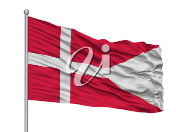 Denmark State Flag On Flagpole, Isolated On White Background, 3D Rendering