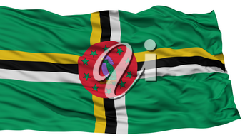 Isolated Dominica Flag, Waving on White Background, High Resolution