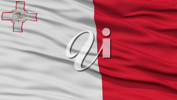 Closeup Malta Flag, Waving in the Wind, High Resolution