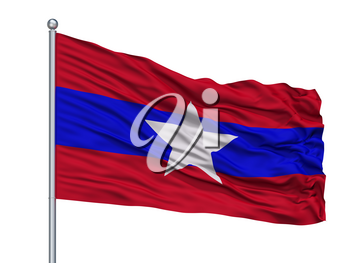 Myanmar Army Flag On Flagpole, Isolated On White Background, 3D Rendering