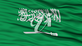 Closeup Saudi Arabia Flag, Waving in the Wind, High Resolution