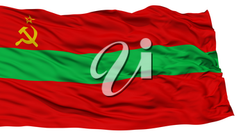 Isolated Transnistria Flag, Waving on White Background, High Resolution