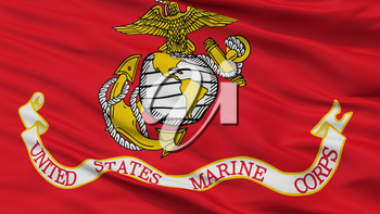 United States Marine Corps Flag, Closeup View, 3D Rendering