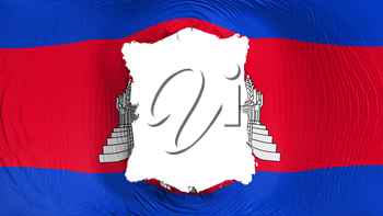 Square hole in the Cambodia flag, white background, 3d rendering