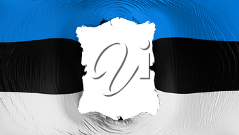 Square hole in the Estonia flag, white background, 3d rendering