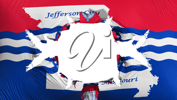 Jefferson city, capital of Missouri state flag with a big hole, white background, 3d rendering