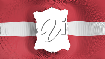 Square hole in the Latvia flag, white background, 3d rendering