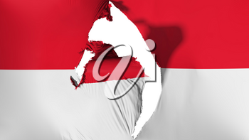 Damaged Monaco flag, white background, 3d rendering