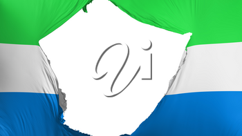 Cracked Sierra Leone flag, white background, 3d rendering