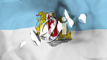 Riga city, capital of Latvia flag perforated, bullet holes, white background, 3d rendering