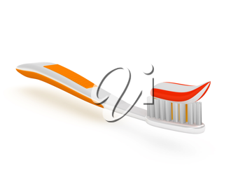Royalty Free Clipart Image of Toothpaste on a Toothbrush