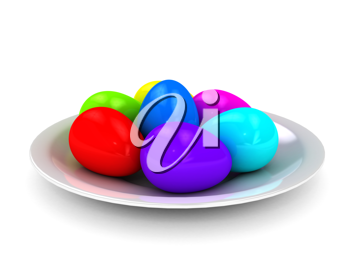 Royalty Free Clipart Image of a Plate of Colorful Eggs