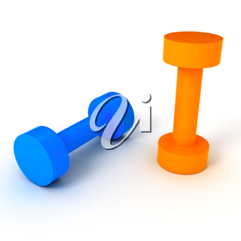 Royalty Free Clipart Image of Two Dumbbells