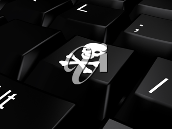 Royalty Free Clipart Image of a Keyboard With a Skull and Crossbones