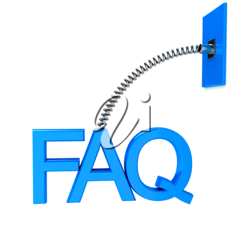 Royalty Free Clipart Image of an FAQ Sign