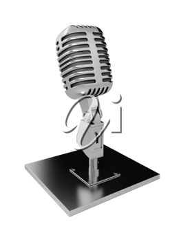 Royalty Free Clipart Image of a Metal Microphone