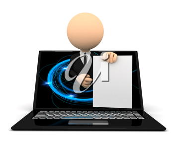 Royalty Free Clipart Image of a Businessman in a Laptop