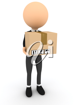 Royalty Free Clipart Image of a  Person Holding a Box