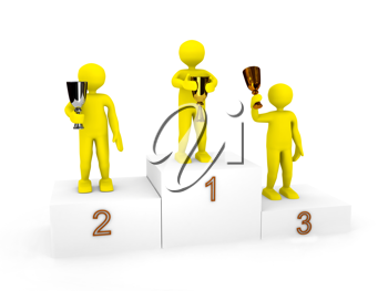 Royalty Free Clipart Image of Three People on a Podium