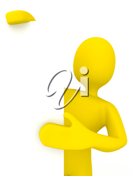 Royalty Free Clipart Image of a Person Holding a Sign