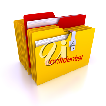 Royalty Free Clipart Image of Confidential Folders