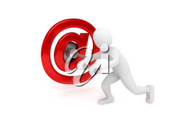 Royalty Free Clipart Image of a Person With an Email Symbol