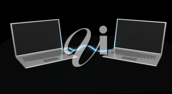 Royalty Free Clipart Image of Two Laptops
