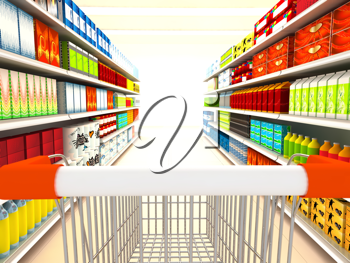 Royalty Free Clipart Image of a Supermarket