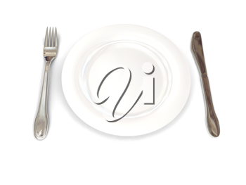 Royalty Free Clipart Image of a Plate With Utensils