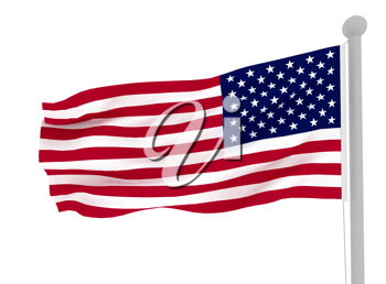 Royalty Free Clipart Image of an American Flag