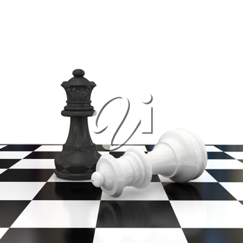 Royalty Free Clipart Image of a Chess Game