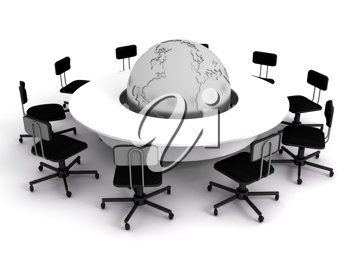 Royalty Free Clipart Image of a Conference Table