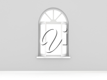 Royalty Free Clipart Image of an Opened Window