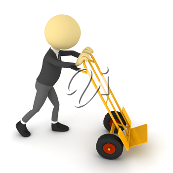 Royalty Free Clipart Image of a Person Pushing a Cargo Cart