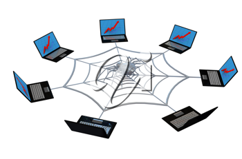 Royalty Free Clipart Image of a Web and Laptop Concept