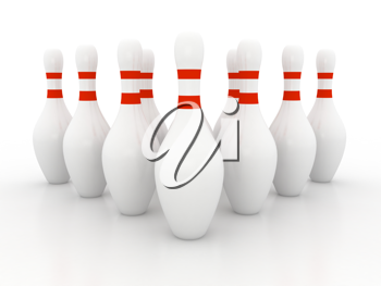 Royalty Free Clipart Image of Bowling Pins