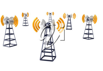 Royalty Free Clipart Image of a Communications Tower