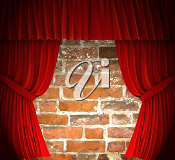 Royalty Free Clipart Image of Red Curtains Over a Brick Wall