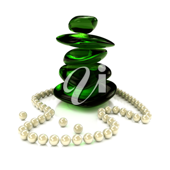 Royalty Free Clipart Image of a Pearl Necklace and Green Stones