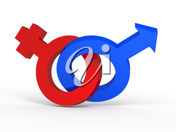 3d femal and male sign on white background