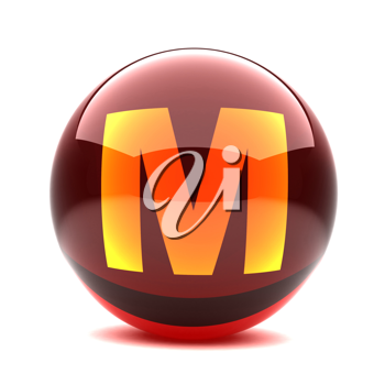 Royalty Free Clipart Image of a Sphere Letter 'M'